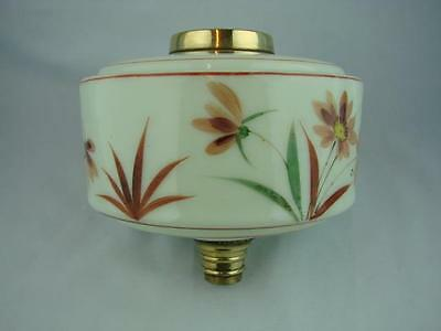 Gorgeous Shabby Chic Pale Green Glass Oil Lamp Font, Daisy Floral Decoration