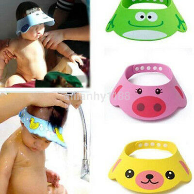 Soft Baby Kid Bath Shower Wash Head Hair Waterproof Shield Cap Hat Eye Protector