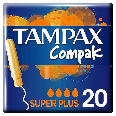 Tampax Compak Super Plus Tampons Applicator Womens Leakage Protection Pack of 20