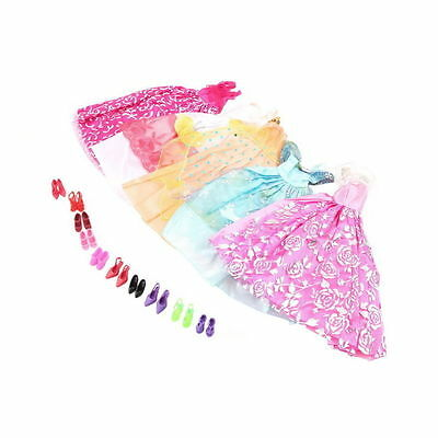 5Pcs Handmade Princess Party Gown Dresses Clothes 10 Shoes For Barbie Doll K#