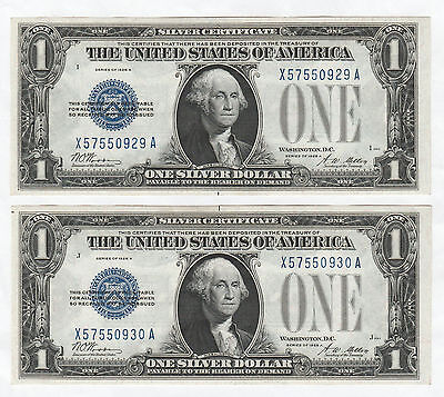 Quality Pair of Consecutive 1928-A $1 Silver Certificates--Funnyback, Ungraded