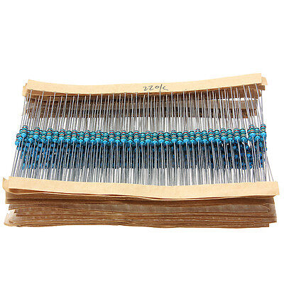 1280pcs 64 Values 1/4W 0.25w 1% Metal Film Resistors Assortment Selection Kit