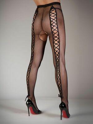Ann Summers Womens Lace Up Bottomless Fishnet Back Fishnet Sexy Tights Hosiery