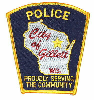 GILLETT WISCONSIN WI Police Sheriff Patch STATE SHAPE OUTLINE CITY STAR OLD ~