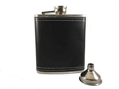 Stainless Steel Black Leather 7oz Hip Flask