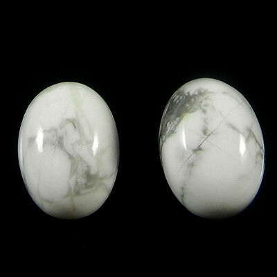 1 Pair Natural Howlite Gemstone 10x14mm Oval Cab 14.4 Cts Stones ER4194