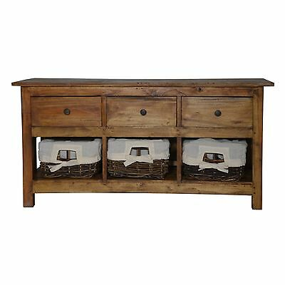 Rustic Lowboard Sideboard Cabinet Chest Of Drawers Rattan Baskets Country Style