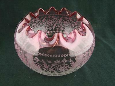 Beautiful Antique Victorian Cranberry Tinted Finely Moulded Oil Lamp Shade