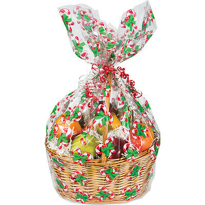 Christmas Candy Cane Hamper Wrap cellophane Basket Gift Wrap Large Cello Bag