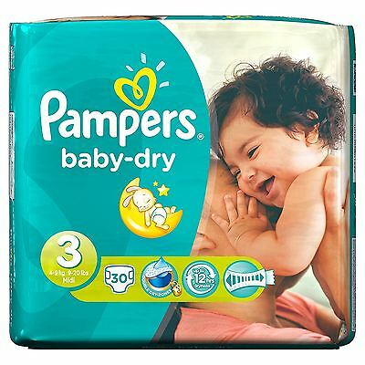 Pampers Baby Dry Nappies Size 3 Carry Pack Flexible Sides 5kg-9kg Pack of 30