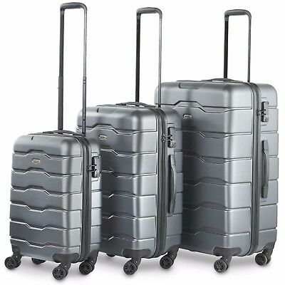 VonHaus Gray 3-Piece Luggage Set TSA Lock Lightweight Hardside Spinner Wheels