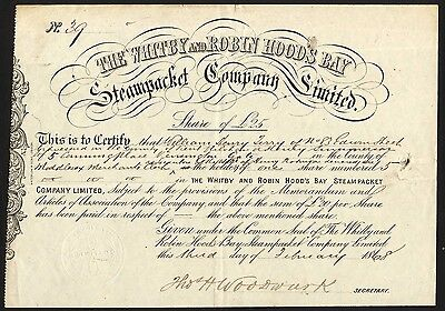 Whitby and Robin Hood's Bay Steam Packet Co., £25 share, 1868