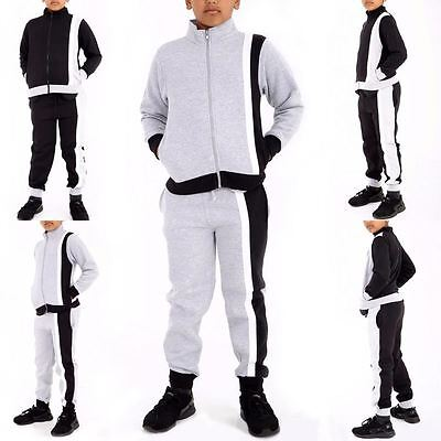 New Unisex Boys Girls STRIPPED Contrast  Swag Tracksuit Zipper Bottoms 7-13 Year
