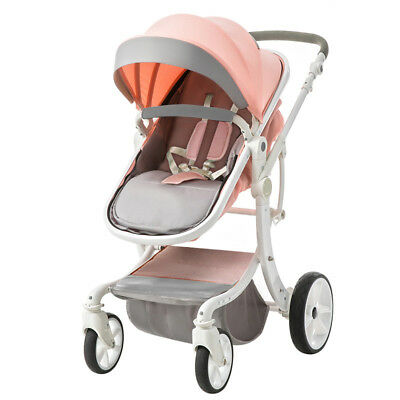 LUXURY baby stroller foldable travel Carriage Infant Travel system PU pushchair