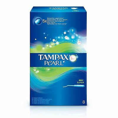Tampax Pearl Super Tampons Applicator Womens Leakage Guard & Form Fit Pack of 8