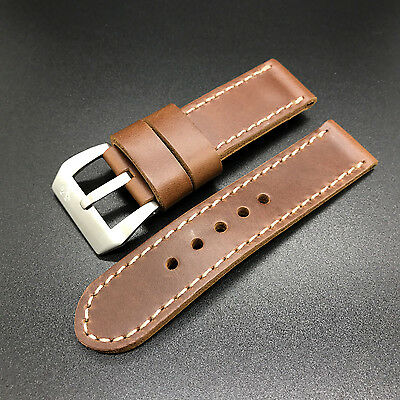 24mm Reddish Brown Leather Panerai Watch Short Band Strap + Buckle for 44mm Mens