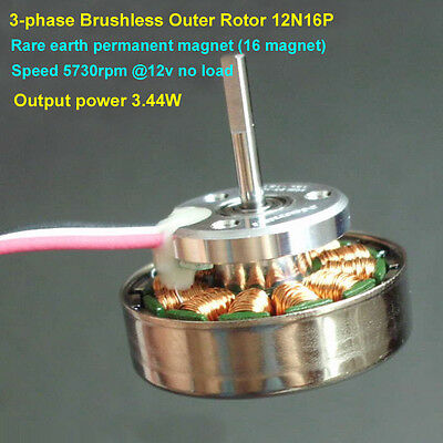 DC5V-12V Micro DC Brushless Motor Outer Rotor 3-Phase 16-pole Rare earth magnets