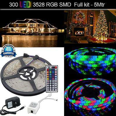 New Waterproof RGB SMD 3528 300 LED Strip Light with 12V Adapter Remote Control