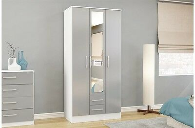 Armoires & Wardrobes Cheap Price Slumberhaus German Trio White Gloss 90cm 2 Door Mirror Wardrobe With Drawers Complete In Specifications