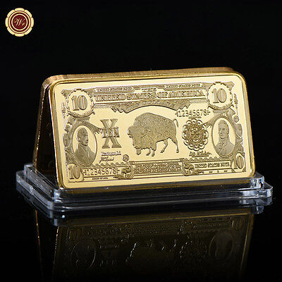"""WR 1901 Buffalo $10 US """"Bison"""" Note Gold Bar Collector Bullion Christmas Gifts"""