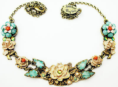 Michal Negrin Rose Crystal Beads Floral Necklace Vintage Victorian Antique Style