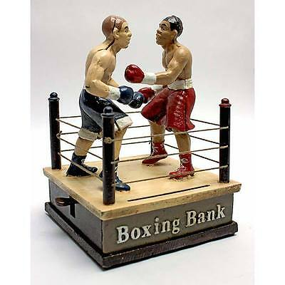 Cast Iron Fighting Boxers Mechanical Coin Bank Boxing Vintage Toy Replica