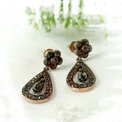 Vintage garnet earrings w/ dangling briolets 14ct solid gold studs / грана́т EPK