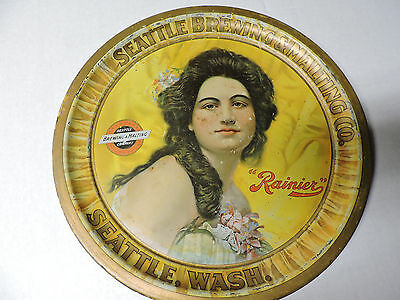 """rare c.1910 RAINIER BEER Seattle Brewing & Malting Co. yellow 12"""" beer tray"""