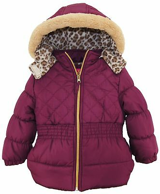Pink Platinum Toddler Girls Coat Quilted Winter Jacket with Sherpa Trim Hood