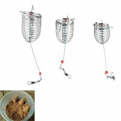 3PCS Trap Basket Feeder Bait Catch Holder Fishing Lure Cage Stainless Steel