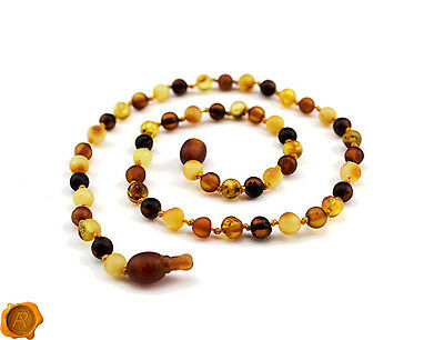 SAFEST POP CLASP Amber teething necklace raw Baltic amber beads