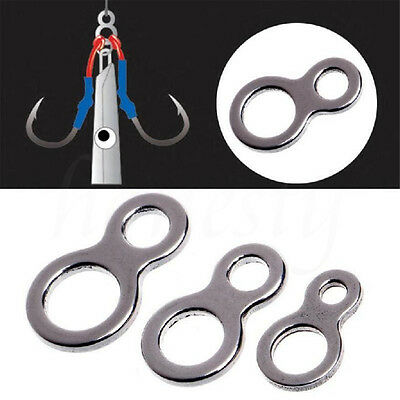 10Pcs Fishing Butterfly Jigging Figure 8 Solid Ring Assist Stainless Hook Steel