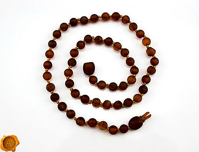 SAFETY POP CLASP Amber teething necklace bracelet anklet raw Baltic amber beads