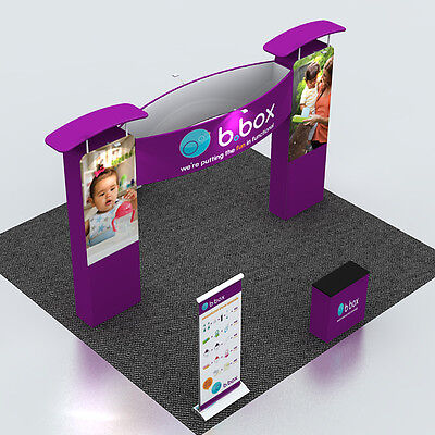 Portable Fabric Trade Show Exhibition Display System with Counter Roll up banner