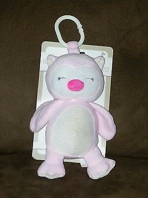 Kellybaby Pink Owl w/Rattle Clip-On Pram Toy NWT (A)