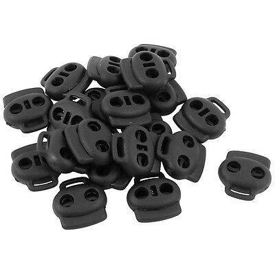 20pcs Dual Holes Spring Loaded Cord Lock Stopper Toggle Fastener Black F1D4
