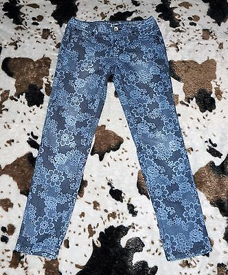 Justice Premium Blue Jeans Lace Pattern Girls Size 12