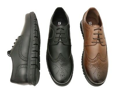 Mens Oxford 100% Leather Shoes Flexible Sole - Lace & Loafers - Slip-Resistant