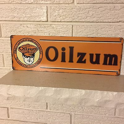 "Oilzum Oils and Lubricants Gas Station Sign Logo .040 Aluminum Sign New 6"" x 18"""