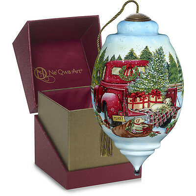 Puppies Presents Red Truck Ornament NeQwa Art Hand Painted 7171151