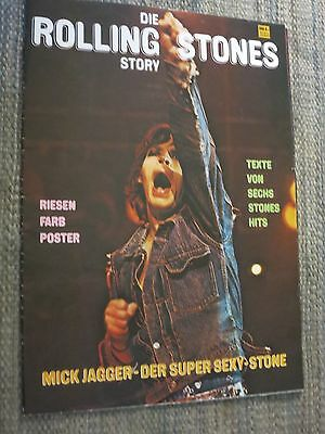 Die ROLLING STONES Story++Mick Jagger+GIANT Fold-Out Poster+6 Songs Lyrics+1970+