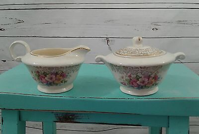 Edwin M. Knowles Vitreous China Floral Design Sugar Bowl and Creamer 44-11