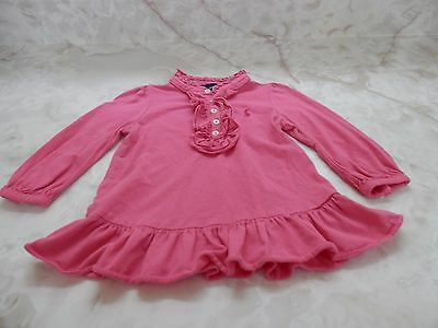 Baby Girl 9 Months Ralph Lauren Pink Long Sleeve Button Collar Ruffle Dress