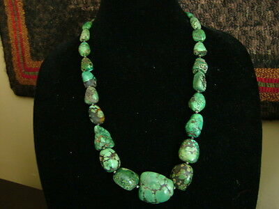 ANTIQUE TIBETAN GREEN TURQUOISE NECKLACE (purchased 40+ years ago from monk)
