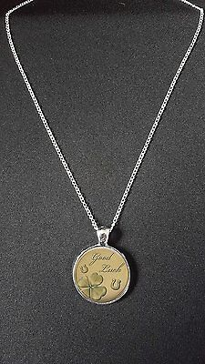 """Good Luck Pendant On 18"""" Silver Plated Fine Metal Chain Necklace Gift N550"""