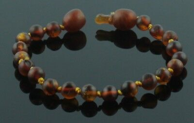 SAFEST POP CLASP Amber teething bracelet anklet raw Baltic amber beads