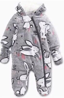 BNWT 2016/2017 Bunny Fleece All In One Snowsuit NEXT Age 12-18 Months