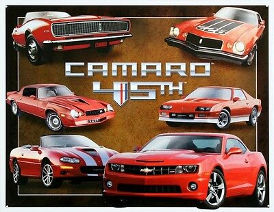 Chevy Chevrolet Camaro 45th Anniversary Tin Sign 13 x 16in