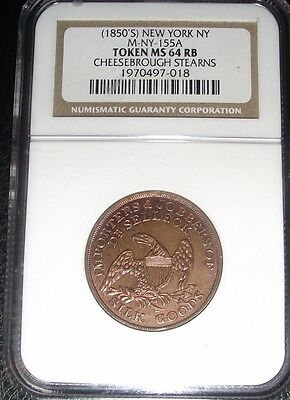 1850's  CHEESEBROUGH STEARNS TOKEN NGC MS64 RED BROWN 30/40% RED MINT LUSTER