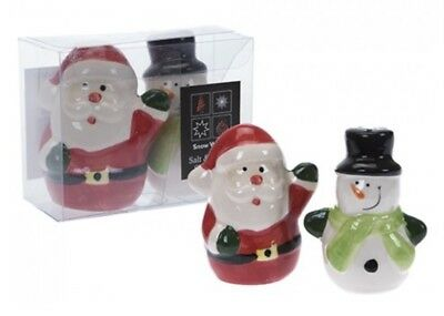 Christmas Salt & Pepper Shaker Pots Set Santa Snowman Table Ornament Novelty